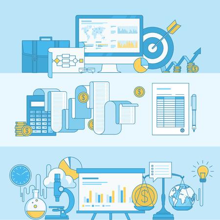 marktforschung: Satz von Linienkonzept Banner mit flachen Design-Elemente f�r Wirtschaft, Finanzen, Marktforschung. Illustration