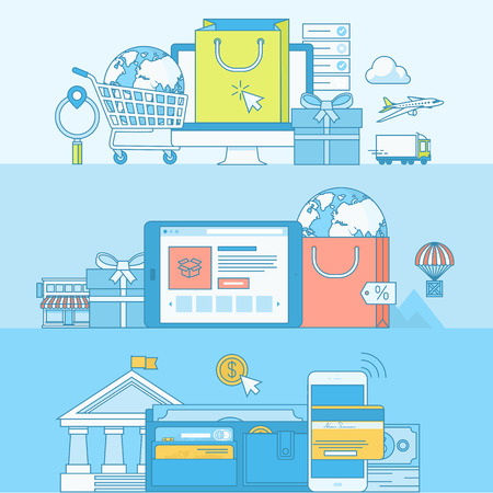 banco dinero: Conjunto de concepto l�nea de banners con elementos de dise�o de planos. Conceptos para el e-commerce, m-commerce, compras en l�nea, pago en l�nea, la banca m�vil.