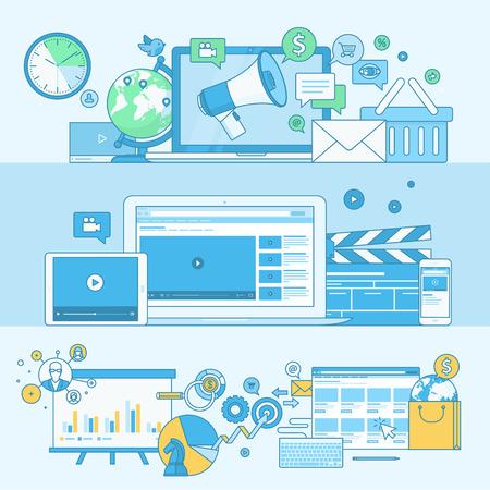 フラットなデザイン要素を持つ行概念のバナーのセットです。概念のデジタル マーケティング、ビデオ マーケティング、インターネット マーケテ