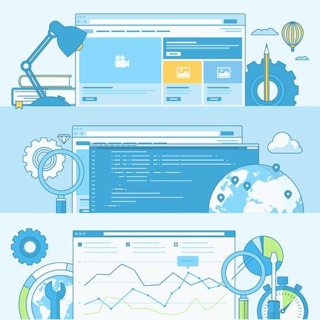 medios de comunicaci�n social: Conjunto de concepto l�nea de banners con elementos de dise�o de planos. Conceptos para el dise�o y desarrollo web, codificaci�n, SEO. Vectores