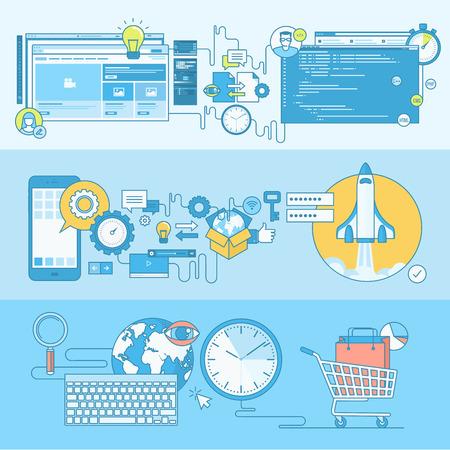 medios de comunicaci�n social: Conjunto de concepto l�nea de banners con elementos de dise�o de planos. Conceptos para el dise�o web y desarrollo, codificaci�n, SEO, comercio electr�nico, desarrollo de aplicaciones.