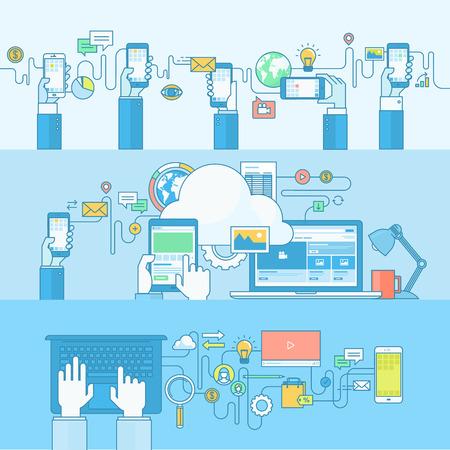 medios de comunicaci�n social: Conjunto de concepto l�nea de banners con elementos de dise�o de planos. Conceptos para el comercio m�vil, los servicios m�viles y aplicaciones, computaci�n en nube, medios sociales, red social, el marketing digital.