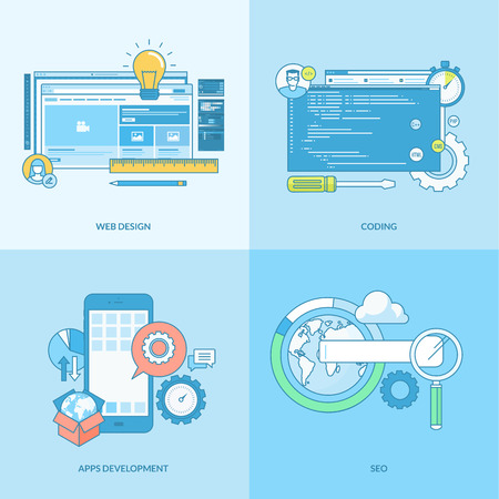 Set of line concept icons with flat design elements. Icons for websites and apps design and development, SEO, mobile sites and apps development. Vector