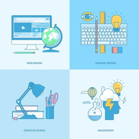 フラットなデザインの要素を持つライン コンセプト アイコンのセットです。Web デザイン、グラフィック デザイン、クリエイティブ スタジオ、技術