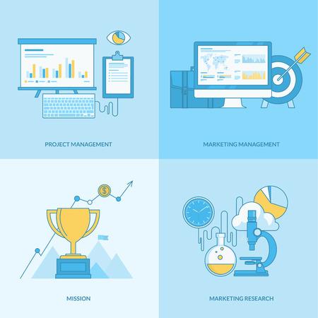 mision: Conjunto de iconos del concepto de l�nea con elementos de dise�o de planos. Los iconos de negocios, gesti�n de proyectos, gesti�n de marketing, la misi�n, la investigaci�n de mercados.
