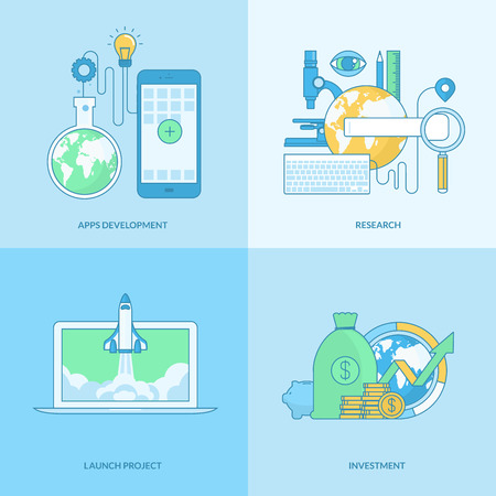 mobile advertising: Set of line concept icons with flat design elements. Icons for business, finance, banking, investment, project management, launch project, apps development, research.