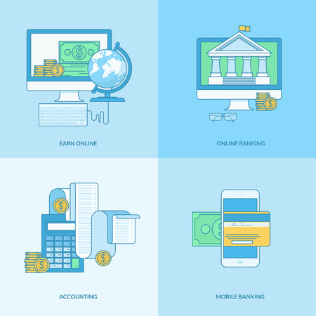 Set of line concept icons with flat design elements. Icons for m-banking, online banking, finance, accounting, earn online.