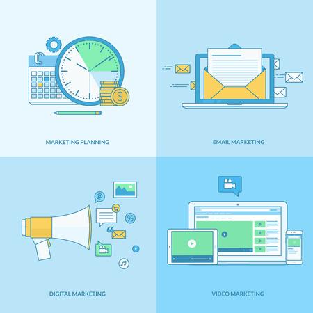 Set van lijn concept iconen met platte design elementen. Pictogrammen voor digitale marketing, e-mail marketing, video marketing, marketing plan. Vector Illustratie