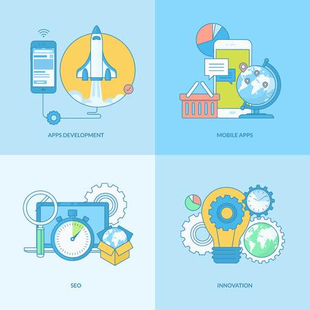 フラットなデザインの要素を持つライン コンセプト アイコンのセットです。ウェブサイトとアプリの設計と開発、SEO、モバイル サイト構築やアプ
