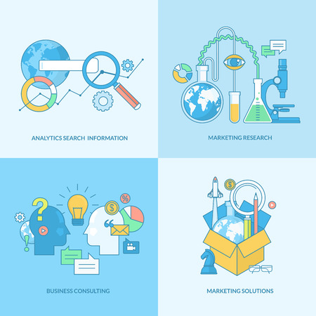 research: Set of line concept icons with flat design elements. Icons for business consulting, market research, analytics search information and marketing solutions. Illustration