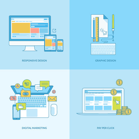 referral: Set of line concept icons with flat design elements. Icons for web design, responsive design, graphic design, digital marketing, finance, pay per click. Illustration