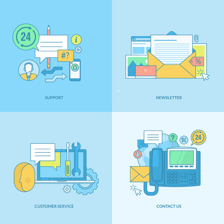 contact us: Set of line concept icons with flat design elements. Icons for support, newsletter, contact us, customer service.