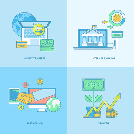 earn money online: Set of line concept icons with flat design elements. Icons for business, finance, banking, internet banking. Illustration
