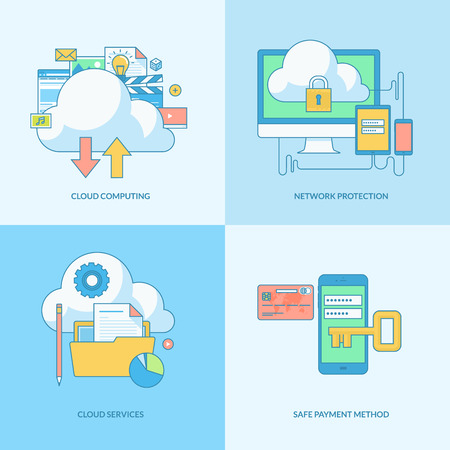 Set of line concept icons with flat design elements. Icons for cloud computing, network protection, online payment security. Vector