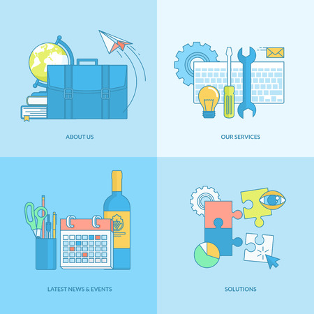 Set of line concept icons with flat design elements. Icons for our services, about us, news and events, solutions.