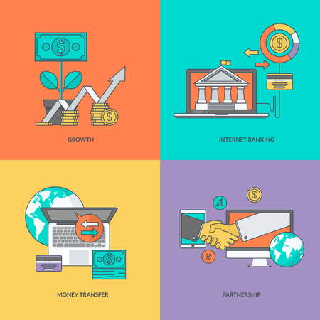 finance background: Set of color line icons on the theme of finance Illustration