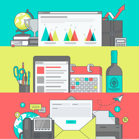email icon: Set of color line banners for web page design Illustration