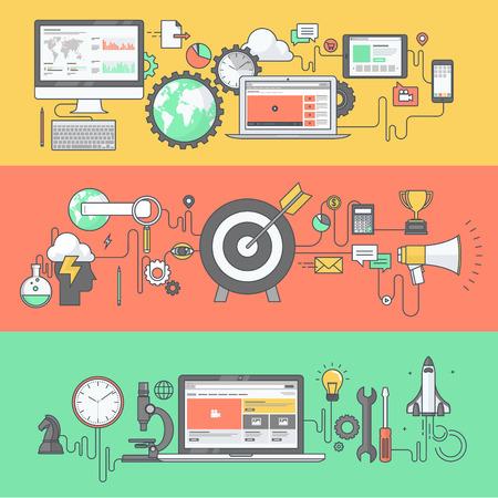 Web 開発事業とマーケティング色のライン バナーのセット  イラスト・ベクター素材