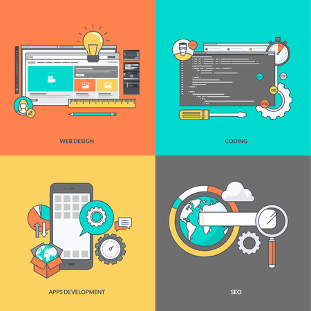 cloud background: Set of color line icons on the theme of web development Illustration