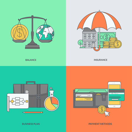 mobile technology: Set of color line icons on the theme of finance Illustration