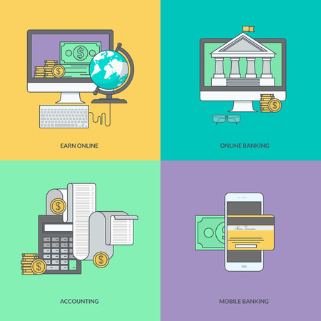 credit card payment: Set of color line icons on the theme of internet banking online payment