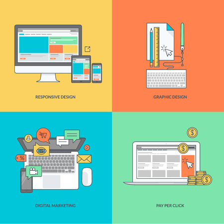 laptop: Set of color line icons on the theme of web and graphic design internet marketing