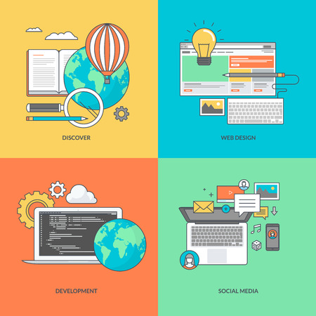 Set of color line icons on the theme of web development and social media