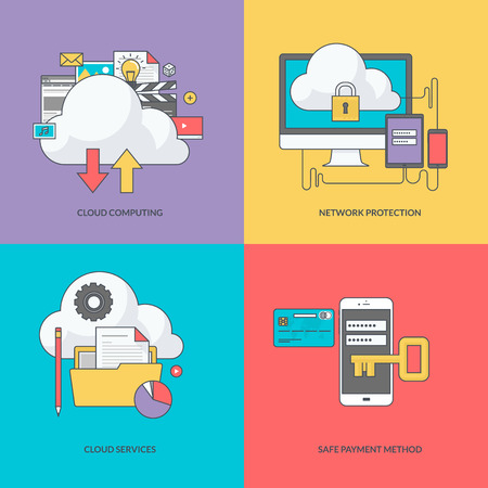 cloud computing technologies: Set of color line icons on the theme of internet security Illustration