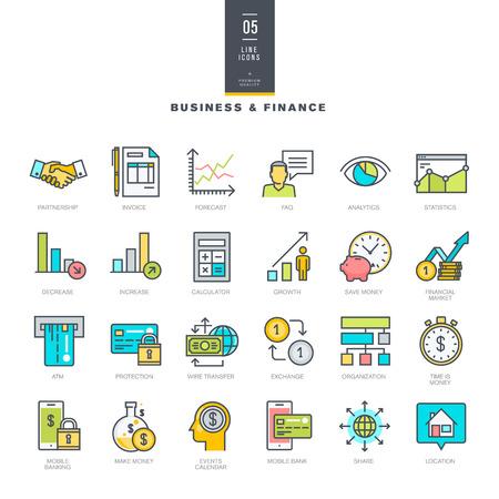 비즈니스 및 금융에 대한 선 현대적인 색상 아이콘을 설정 일러스트