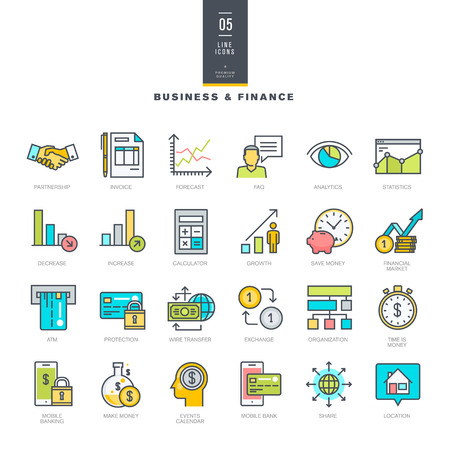 Set of line modern color icons for business and finance Vector