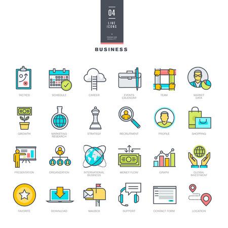 horarios: Conjunto de l�nea modernos iconos de color para los negocios