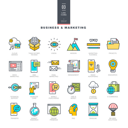 Set van lijn modern kleur pictogrammen voor business en marketing Stock Illustratie