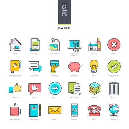 Set of line modern color icons for website design 向量圖像