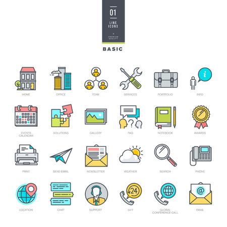 웹 사이트 디자인에 대한 선 현대적인 색상 아이콘을 설정 일러스트
