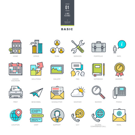 Set of line modern color icons for website design Çizim