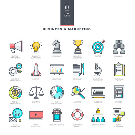 time line: Set of line modern color icons for business and marketing