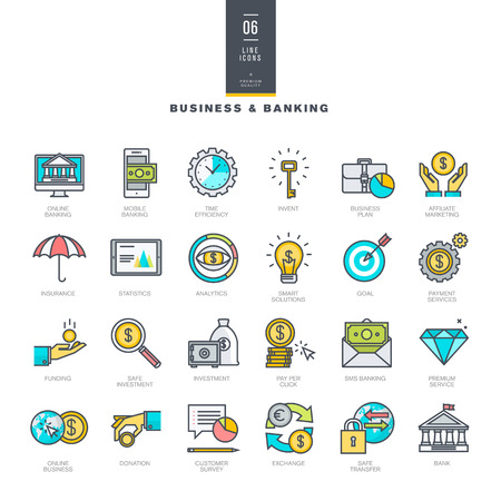 pieniądze: Zestaw kolorowych ikon linii nowoczesnych i bankowości dla biznesu Ilustracja