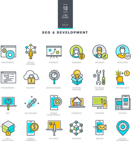 people development: Set of line modern color icons for SEO and web development