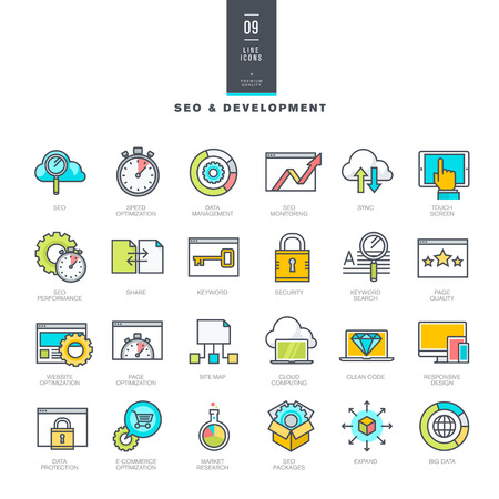 responsive web design: Set of line modern color icons for SEO and website development Illustration