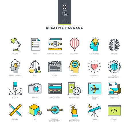 モダンな色のアイコンを行の創造的なパッケージ  イラスト・ベクター素材