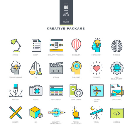 in action: Creative package of line modern color icons