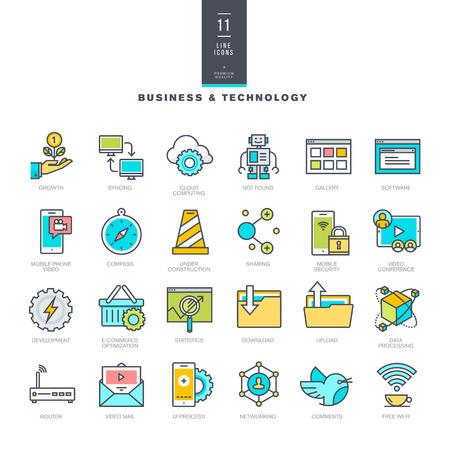 ビジネスとテクノロジの行現代の色アイコンのセット