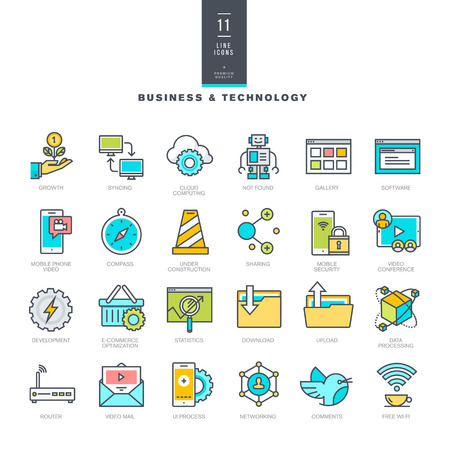 robot vector: Set of line modern color icons for business and technology