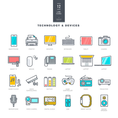 Set of line modern color icons for technology and electronic devices Illustration