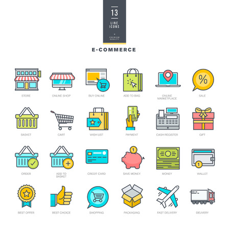 Set of line modern color icons for ecommerce Çizim