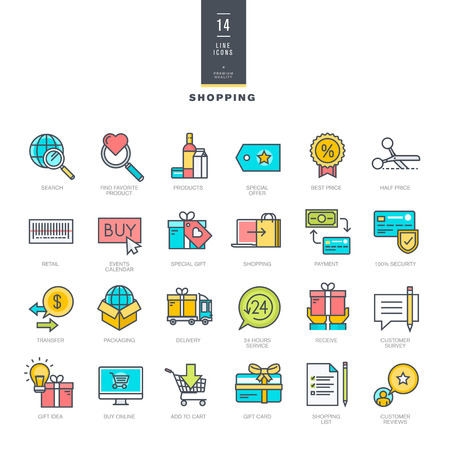 discount: Set of line modern color icons for shopping