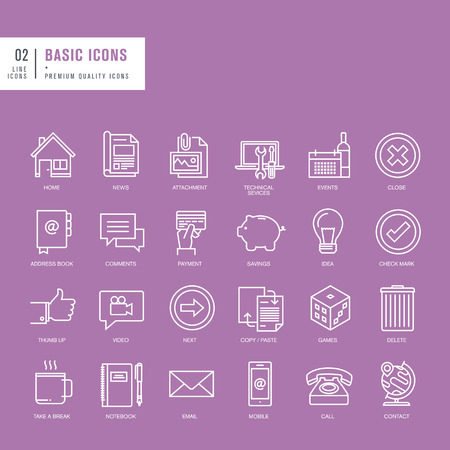 Set of universal thin lines web icons Vector