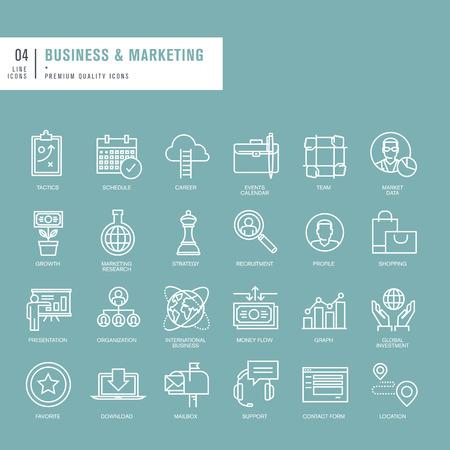 Conjunto de líneas finas iconos de la web para los negocios y el marketing Ilustración de vector