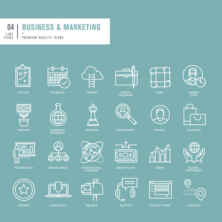 Set of thin lines web icons for business and marketing