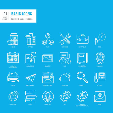 Set of basic thin lines web icons Çizim